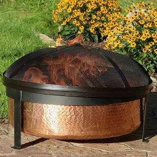 Sunnydaze 100% Hammered Copper Wood Burning Fire Pit & Screen - 30 Inch Wide