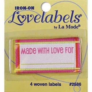 Made With Love - Pink - Iron-On Lovelabels 4/Pkg