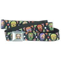 Sugar Skull Multi Color Seatbelt Belt - for your pants (Snap Like Seatbelt Buckle)