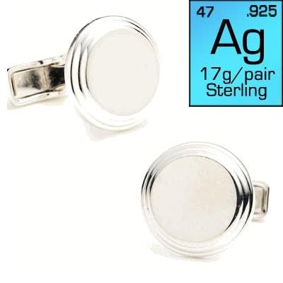 Round Step Sterling Silver Cufflinks