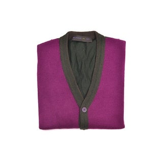 Etro Magenta Brown Mixed Materials Button Down Cardigan