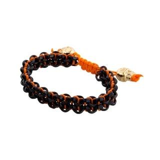 Links Women's Orange Two-Row Link Bracelet in PVD Plate - Black