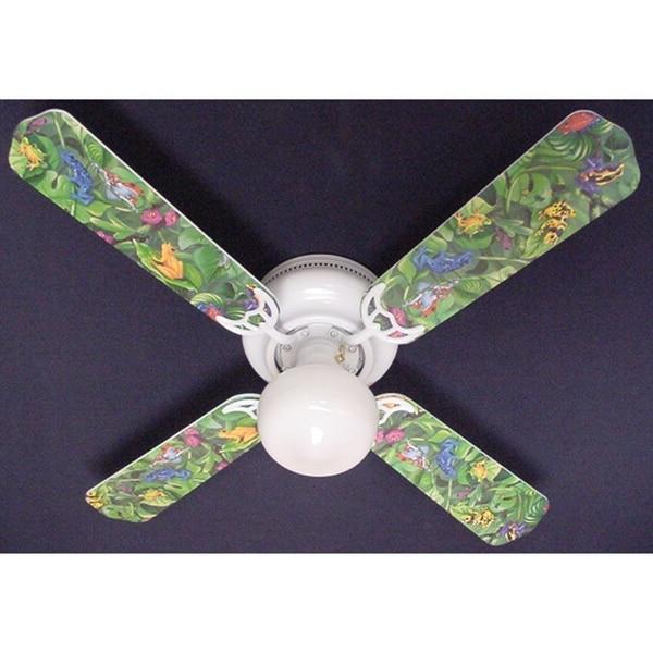 Jungle Tree Frogs Print Blades 42in Ceiling Fan Light Kit - Multi