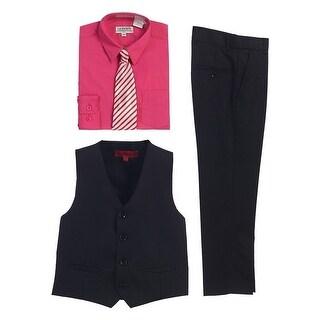 Gioberti Fuchsia Black Vest Pants Striped Tie Shirt 4 Pc Formal Set