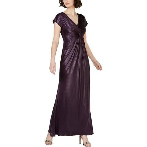 Adrianna Papell Womens Evening Dress Metallic Twist - Dusted Petal - 2