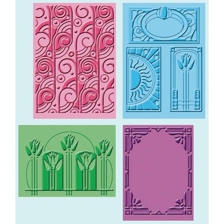 "Cuttlebug Embossing Folders 4/Pkg-Art Deco (2) 5""X7"" & (2) A2"