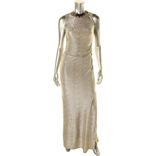 Laundry by Shelli Segal Womens Metallic Halter Evening Dress