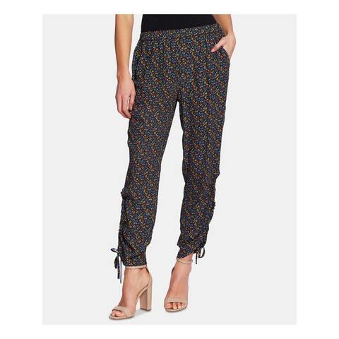 CECE Womens Black Ruched Ankle Tie Floral Pants Size L