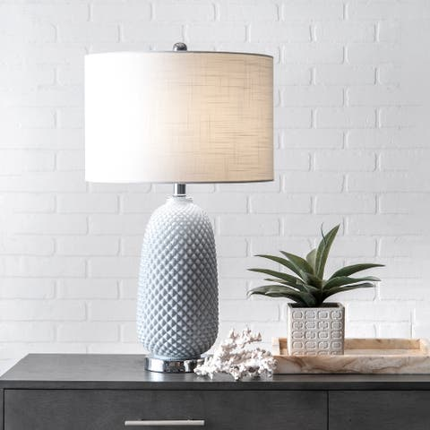 """nuLOOM 26"""" Glass Pineapple Textured Cotton Shade Table Lamp"""