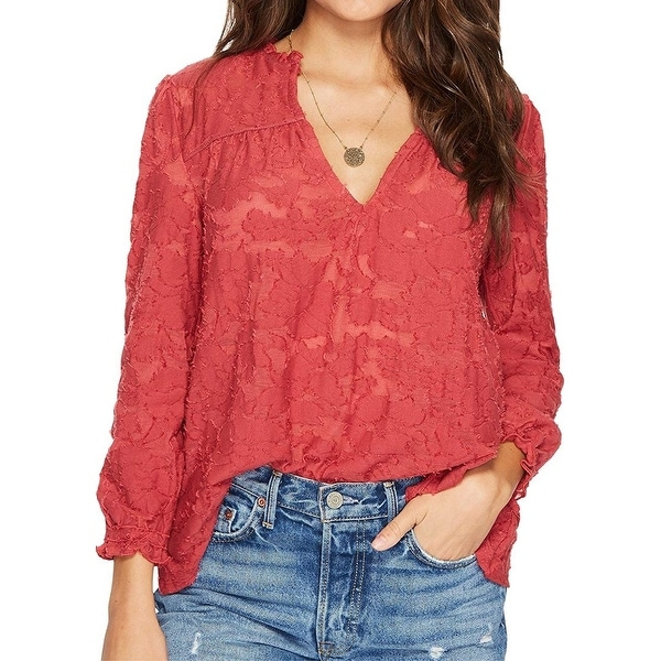 1ec29840f014ac Shop Lucky Brand Red Women's Size XS V-Neck Textured Peasant Blouse - Free  Shipping On Orders Over $45 - Overstock - 26914887