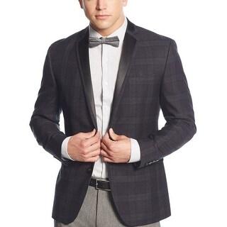 Bar III Slim Fit Grey Tartan Plaid Two-Button Evening Jacket 44 Regular 44R