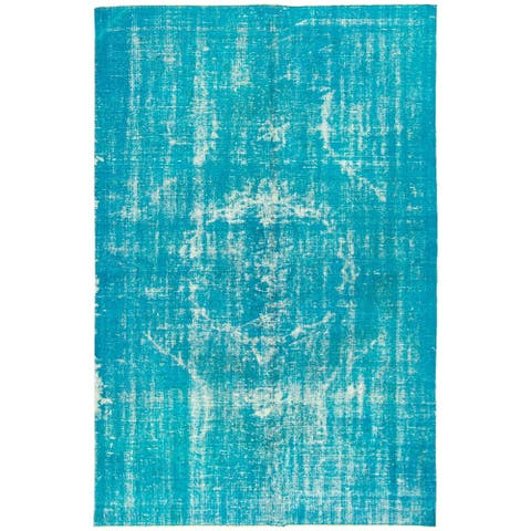 ECARPETGALLERY Hand-knotted Color Transition Turquoise Wool Rug - 5'7 x 8'9