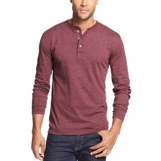 John Ashford Long Sleeve Cotton Blend Henley Shirt Red Plum