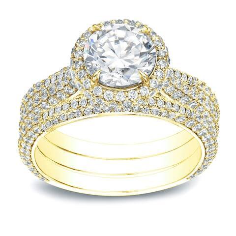 Auriya 3 1/5ctw Pave Halo Diamond Engagement Ring 3pc Set 14k Gold