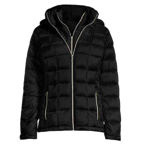 Michael Kors Womens Black Double Layer Hooded Down Packable Coat