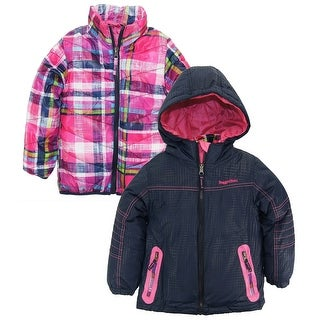 Rugged Bear Girls 2-in-1 Hooded Systems Winter Coat Plaid Quilted Puffer Jacket