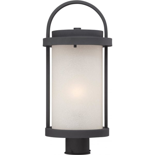 """Nuvo Lighting 62/654 Willis 1-Light 9"""" Wide LED Landscape Single Head Post Light with Frosted Glass Shade - Textured Black - N/A"""
