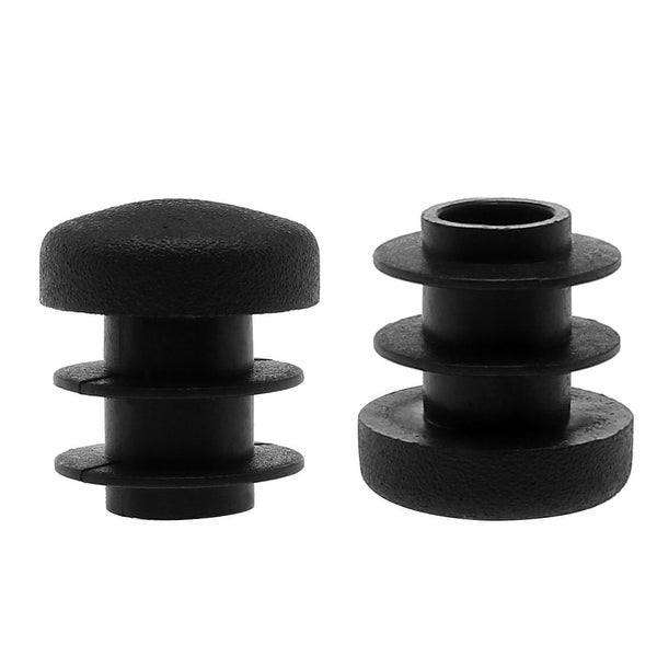 """1/2"""" 14mm OD Plastic Round Tube Ribbed Inserts End Cover Caps 2pcs, 0.43""""-0.51"""" Inner Dia, Floor Furniture Chair Table Protector"""