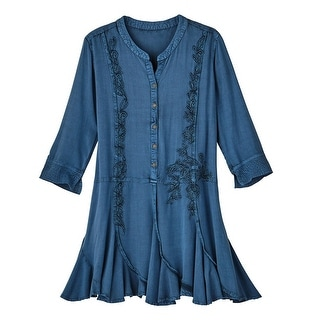 Women's Tunic Top - Prussian Blue Embroidered Long Shirt