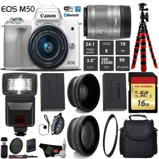 Canon EOS M50 Mirrorless Digital Camera (White) with 15-45mm Lens + Flash + Wide Angle & Telephoto Lens + Tripod - Intl Model