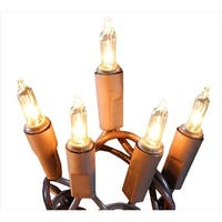 Set Of 50 Shimmering Clear Mini Christmas Lights - Brown Wire