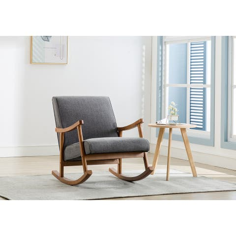 Porthos Home Hayes Hemp Upholstery/Rubberwood Rocking Accent Chair
