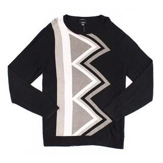 Alfani NEW Black Beige Mens Size XL Geo Knit Pullover Crewneck Sweater