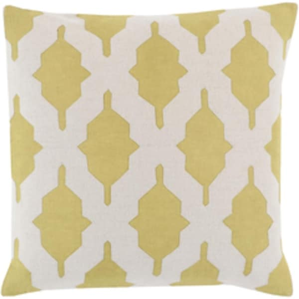 """22"""" Olivine Green and Gainsboro Gray Decorative Square Throw Pillow - Down Filler"""