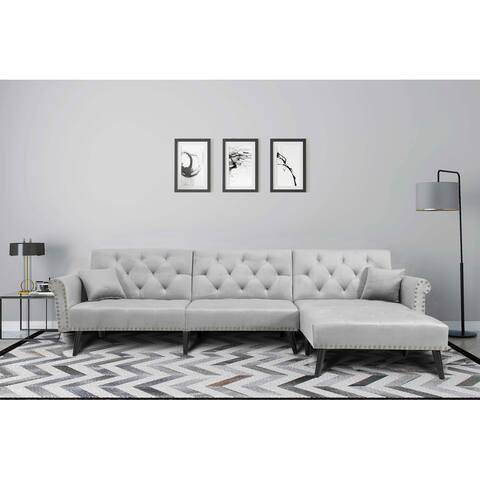 TiramisuBest Classic Modern Reversible Sectional Sofa Sleeper velvet