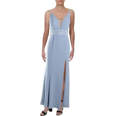 Cachet Womens Evening Dress Sparkle V-Neck - Sky Blue