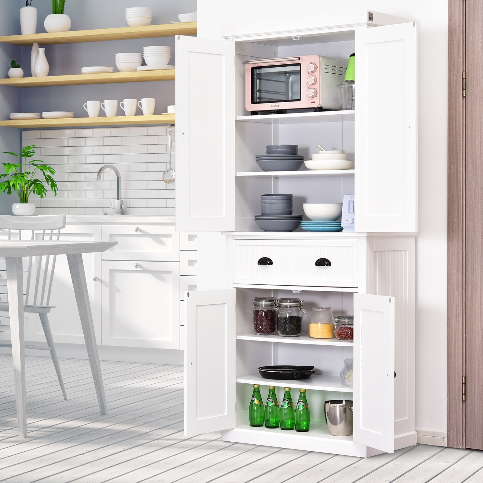 Homcom Traditional Freestanding Kitchen Pantry Cabinet Cupboard With Doors And 3 Adjustable Shelves White On Sale Overstock 22200563
