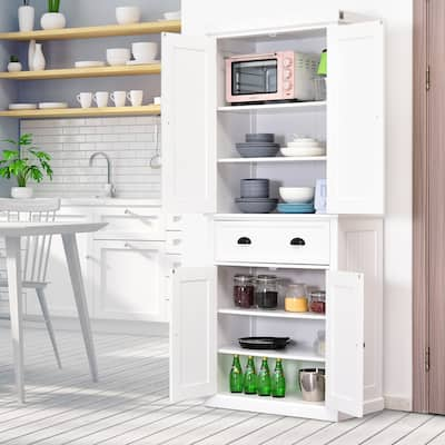HOMCOM Traditional Freestanding Kitchen Pantry Cabinet Cupboard with Doors and 3 Adjustable Shelves, White