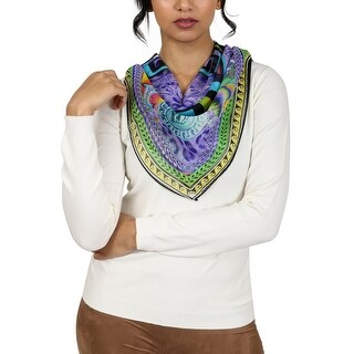 Versace Purple Pschydelic Greca Print Silk Foulard Scarf - 34-34