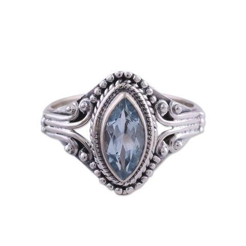 Handmade Sterling Silver 'Morning Luxury' Blue Topaz Ring (India)