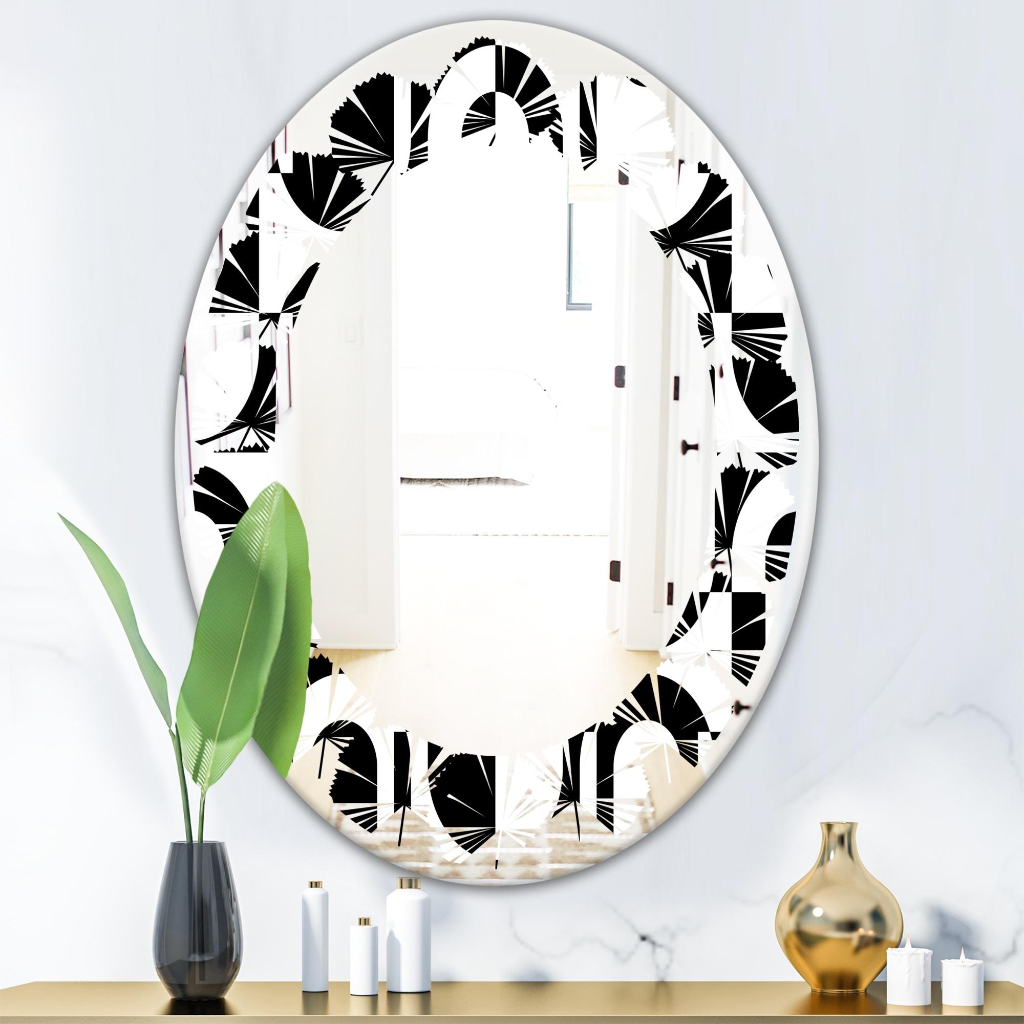 Designart Monochrome Geometric Pattern Viii Modern Round Or Oval Wall Mirror Leaves Overstock 29870916