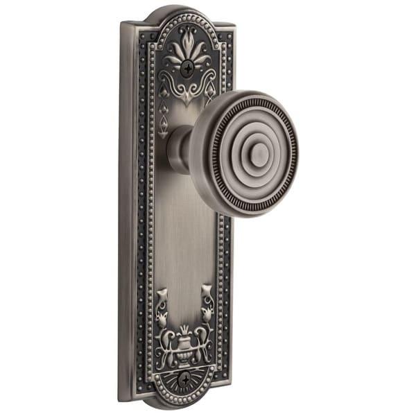 """Grandeur PARSOL_PRV_238 Parthenon Solid Brass Rose Privacy Door Knob Set with Soleil Door Knob Set and 2-3/8"""" Backset"""