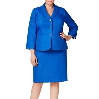 Le Suit NEW Blue Bali Women's Size 14W Plus Shimmer Skirt Suit Set