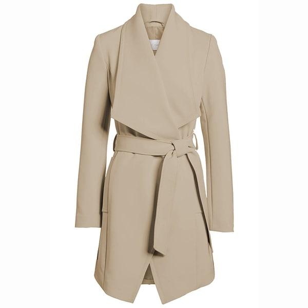 T Tahari Women's Abbey Draped Wrap Coat Hazelnut Khaki. Opens flyout.