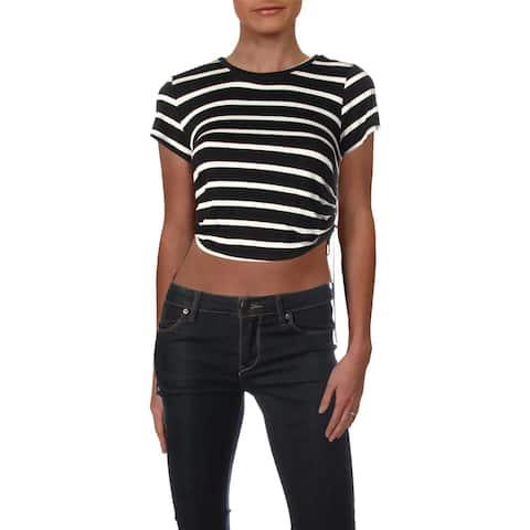 Aqua Womens T-Shirt Striped Cropped
