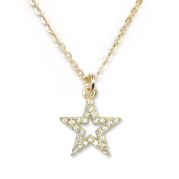 Julieta Jewelry Star Outline CZ Charm Necklace