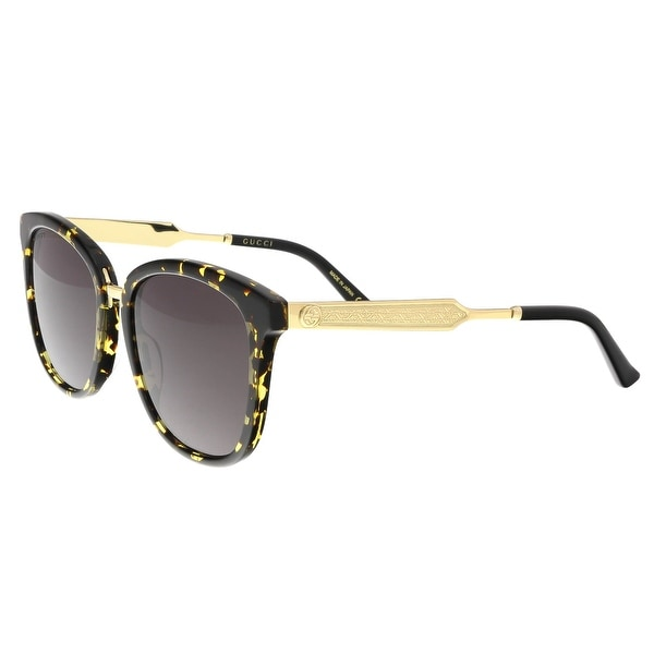 8ee66a9224 Shop Gucci GG0073S 002 Havana Gold Round Sunglasses - 55-19-145 ...