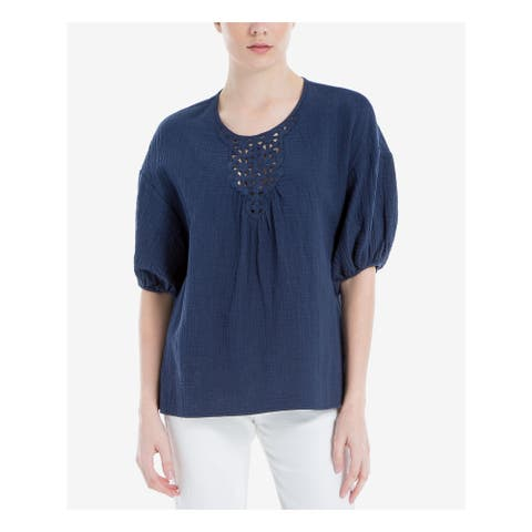 MAX STUDIO Womens Navy Embroidered 3/4 Sleeve Jewel Neck Top Size XS