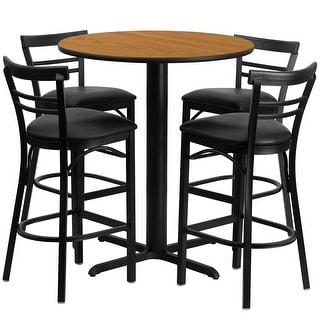 "Dyersburg 5pcs Table Set Round 24"" Natural X-Base, Black Barstool"