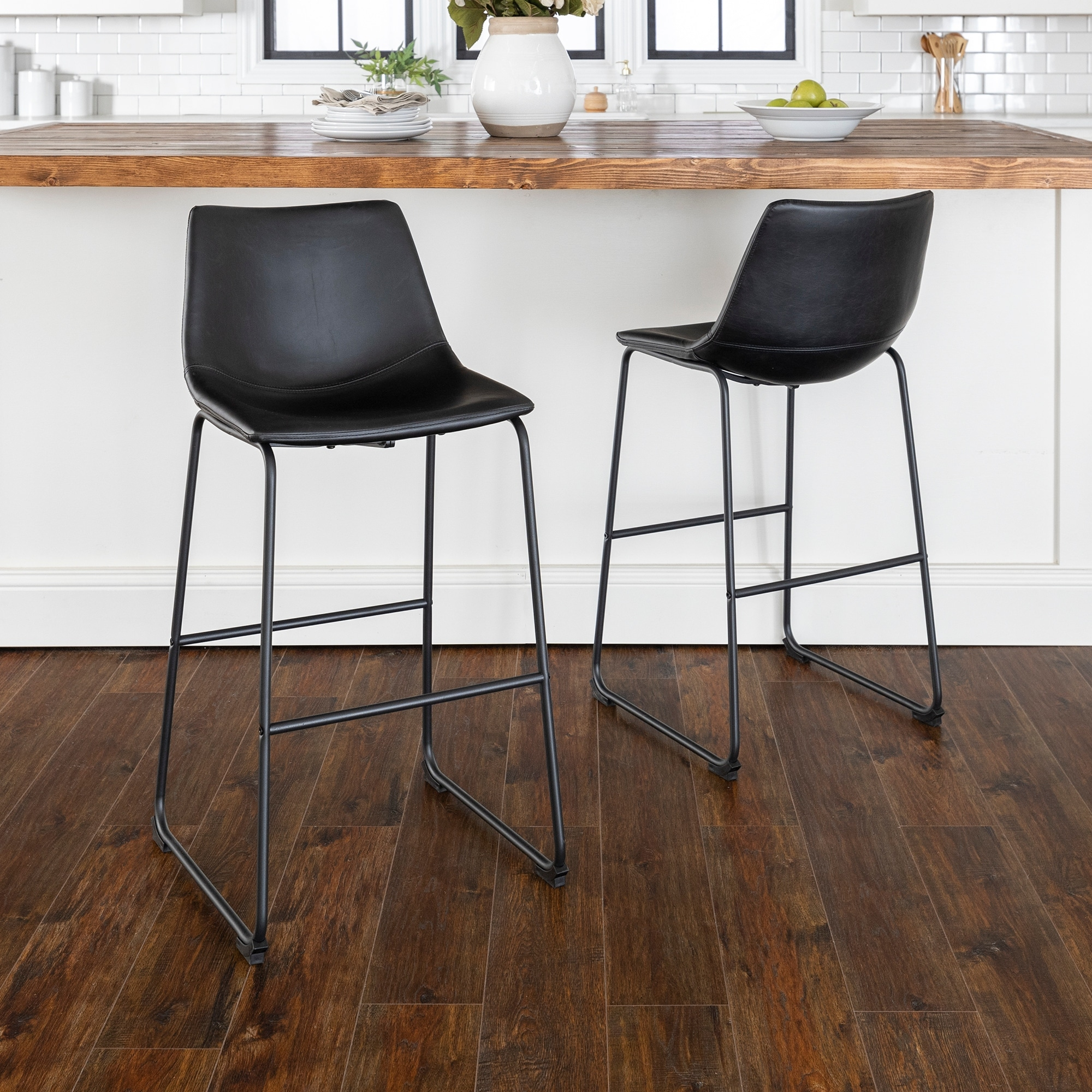 Picture of: Carbon Loft Prusiner Faux Leather Bar Stool Set Of 2 Black Overstock 20559100