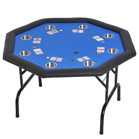 "HomCom 48"" 8 Player Octagonal Foldable Poker Table - Blue/Black"