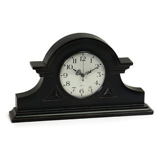 """15"""" Elegant Black Mantle Clock with Ornamental Hands"""