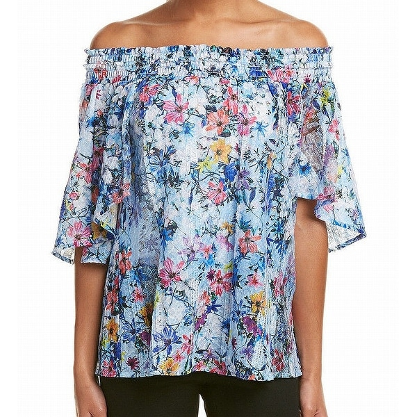 7030e2aa4e801 Shop T Tahari Blue Womens Size XS Floral Print Off Shoulder Blouse - Free  Shipping On Orders Over  45 - Overstock - 22019297