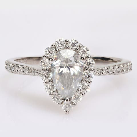 Miadora 1 3/8ct DEW Pear-cut Moissanite Halo Teardrop Engagement Ring in Sterling Silver