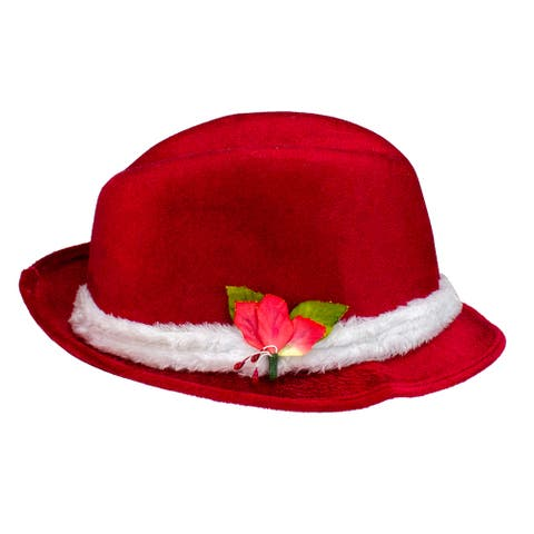 """3.5"""" Red and White Fedora with Plush Women Christmas Santa Hat - One Size"""