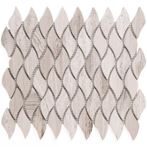 "TileGen. Waterjet 3"" x 3"" Pinwheel Mosaic Tile in Wooden Beige Floor and Wall Tile (1/8 inches sheets/10sqft.)"